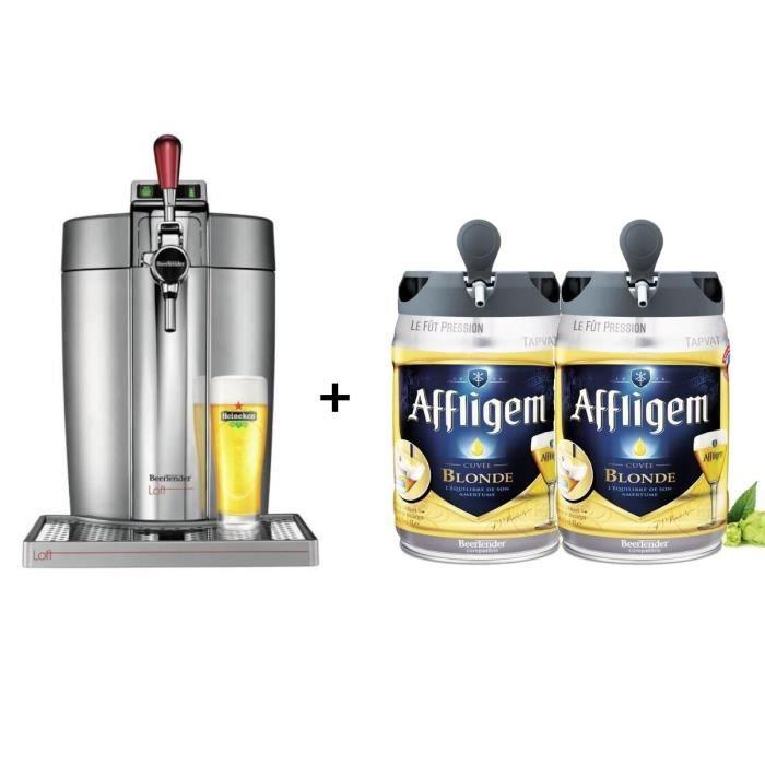 KRUPS Tireuse à bière Beertender - VB700E00 - Compatible fûts 5 L - Chrome + 2 fûts de bière blonde 5L AFFLIGEM