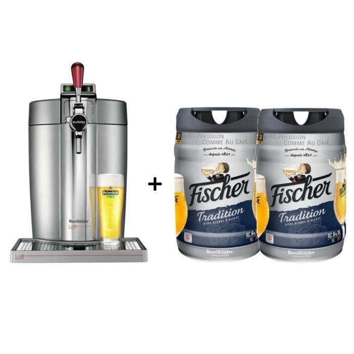 KRUPS Tireuse à bière Beertender - VB700E00 - Compatible fûts 5 L - Chrome + 2 fûts de bière blonde 5L FISCHER TRADITION