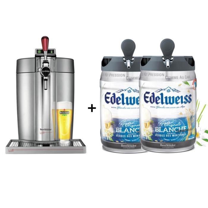KRUPS Tireuse à bière Beertender - VB700E00 - Compatible fûts 5 L - Chrome + 2 fûts de bière aux herbes des montagnes 5L EDELWEISS