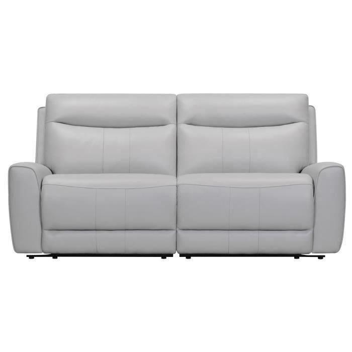 DOVER Canapé 3 places relax electrique Gris clair - Cuir de vachette - L 196 x P 95 x H x 94 cm
