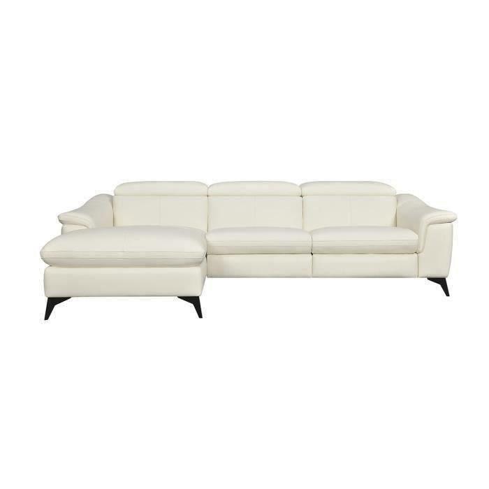 HOUSTON Canapé d'angle gauche 1 place relax électrique Beige - Cuir de vachette - L 268 x P 103 x H x 76 cm