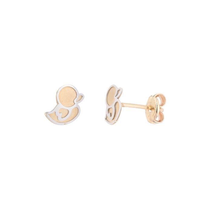 YSORA - Boucles D'Oreilles Piou Piou en Or Bicolore 9 carats - Enfant