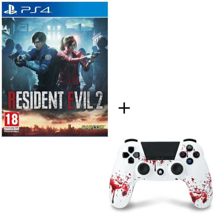 Resident Evil 2 Jeu PS4 + Manette Bluetooth Zombie PS4