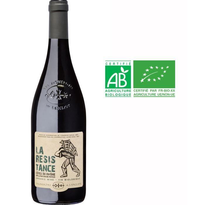 Vignerons de L'enclave La Résistance 2018 Côtes du Rhône - Vin rouge de la Vallée du Rhône - Bio