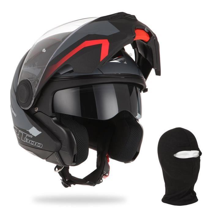 ASTONE Casque Modulable RT800 Energy + cagoule - Noir, rouge et gris