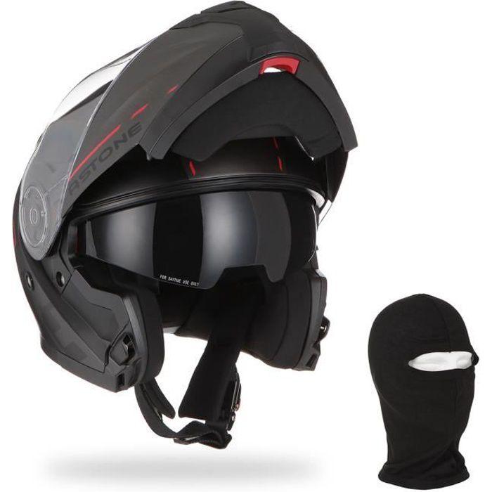 ASTONE Casque moto modulable RT900 Stripe + Cagoule - Noir et rouge