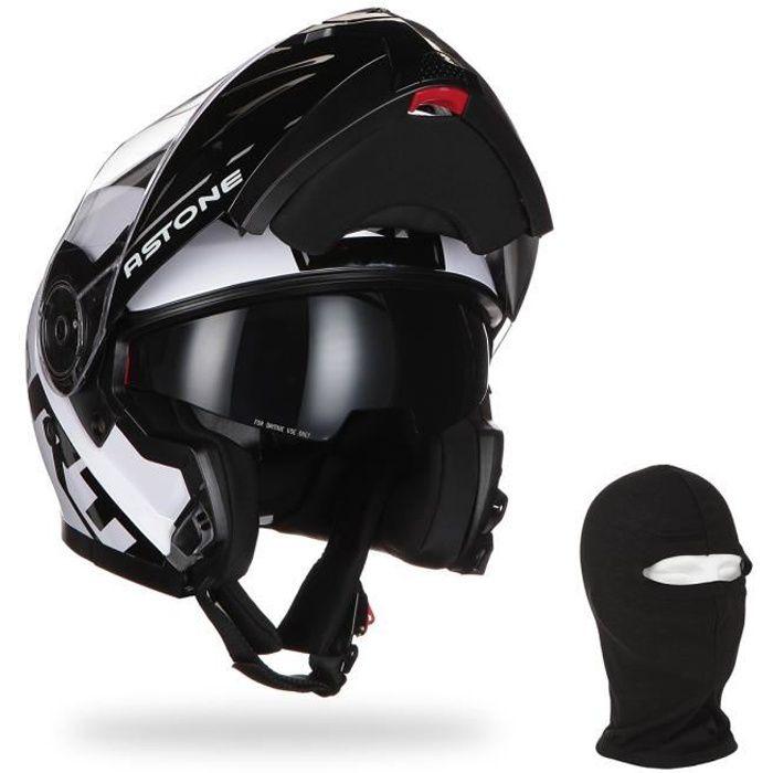 ASTONE Casque moto modulable RT900 Stripe + Cagoule - Blanc et noir