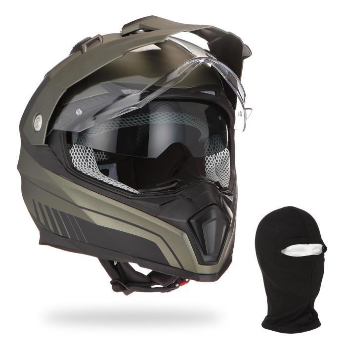 ASTONE Casque moto Crossmax Shaft titanium + Cagoule