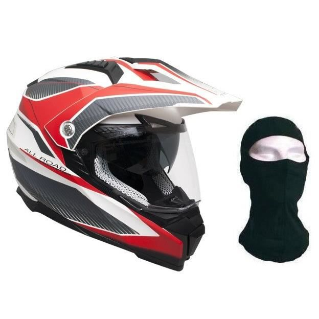 CGM Casque Cross 606G Forward + cagoule - Gris et Rouge