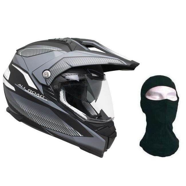 CGM Casque Cross 606G Forward + cagoule - Titanium noir