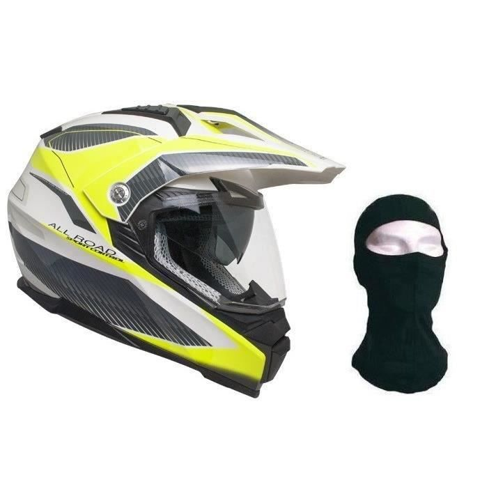 CGM Casque Cross 606G Forward + cagoule - Gris et Jaune