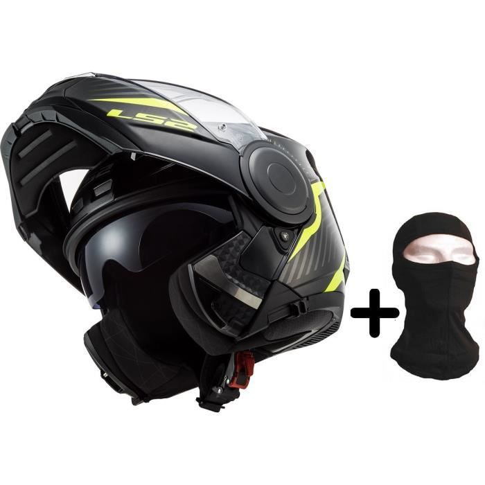LS2 Casque modulable Scope Skid black H-V yellow + cagoule