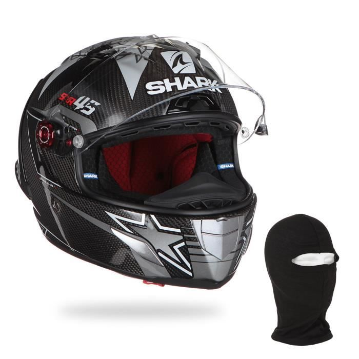 SHARK RACE R PRO GP REDDING WINTER TEST Carbone + cagoule offerte