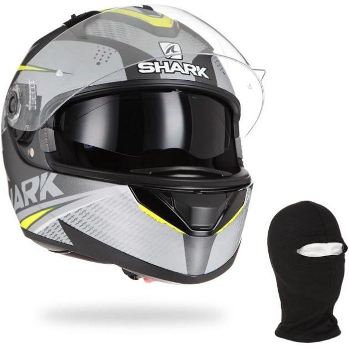 SHARK Casque moto intégral Ridill Stratom + Cagoule - Noir anthracite et Jaune