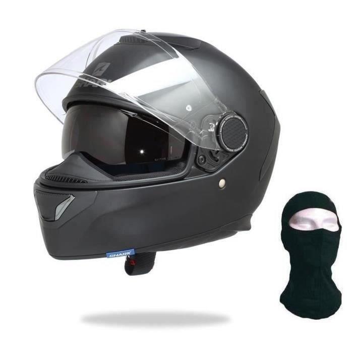 SHARK Casque Moto Spartan Noir Mat + Cagoule