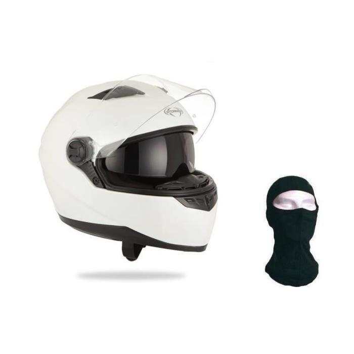 STORMER Casque Intégral Pusher Blanc + Cagoule