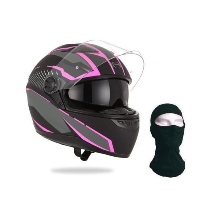 STORMER Casque Intégral Pusher Xenon Rose + Cagoule