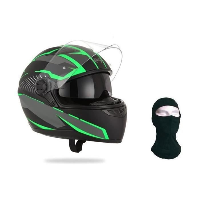 STORMER Casque Intégral Pusher Xenon Vert + Cagoule