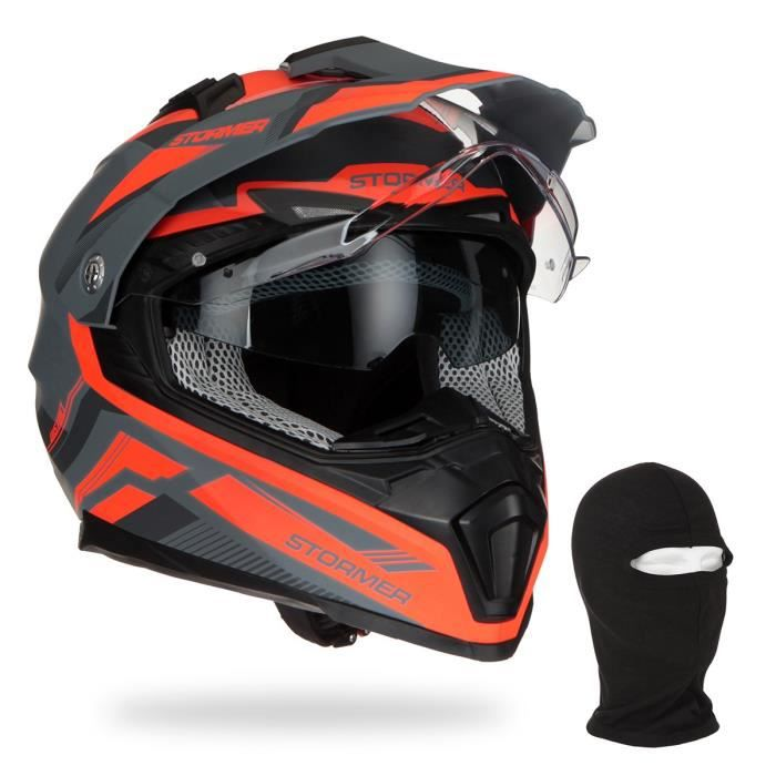 STORMER Casque Cross Traveller District Néon Orange + Cagoule
