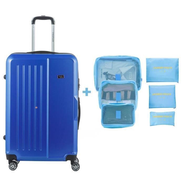 TRAVEL WORLD Valise grande taille 75cm + 6 organisateurs de voyage - Couleur Bleu