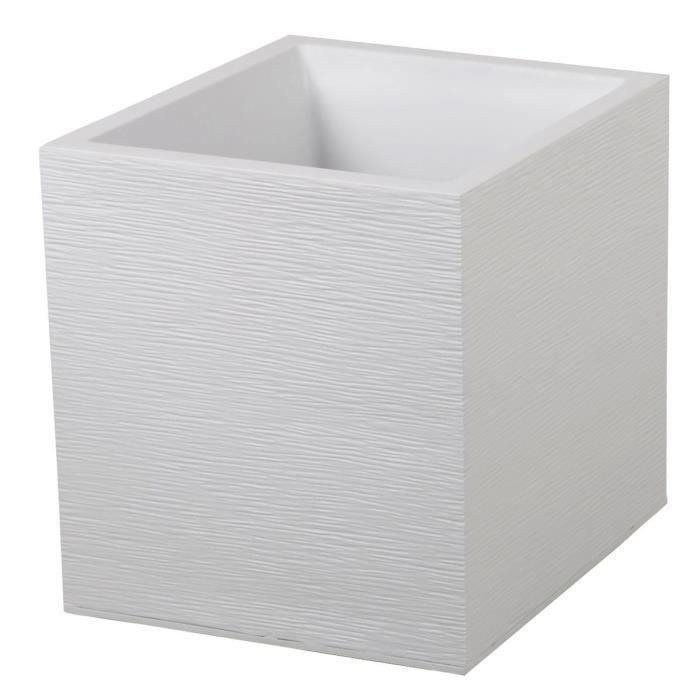 EDA Pot carré Graphit - 39 x 39 x 43 cm - Contenance 35 L - Blanc cérusé