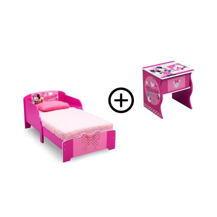 MINNIE- Deltakids - Lit bois + Table de chevet