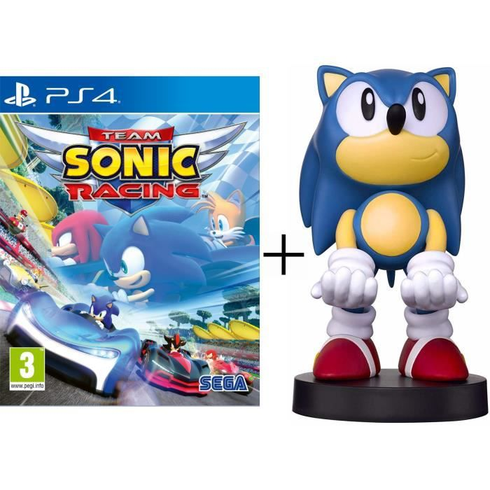 Pack Sonic The Hedgehog : Sonic Team Racing + Figurine Sonic - Support & Chargeur pour Manette et Smartphone - Exquisite Gaming