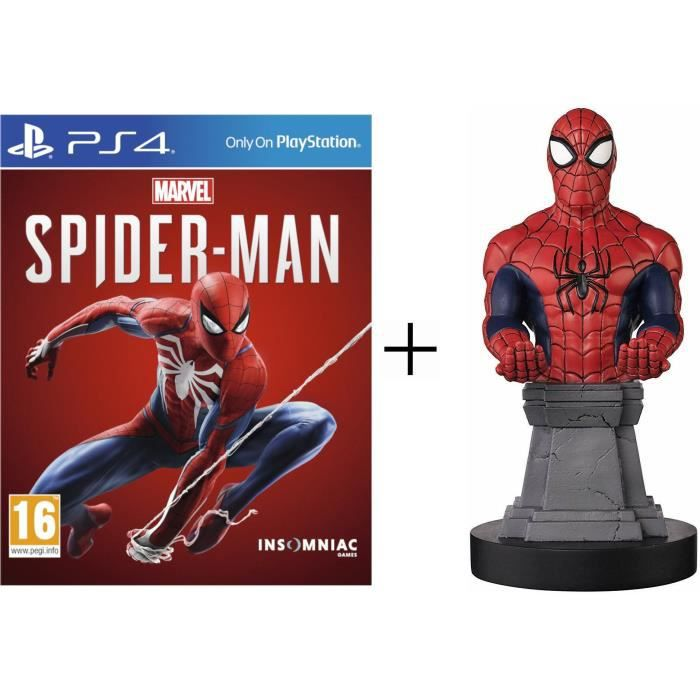 Pack Spiderman : Figurine support manette Cable Guy Spiderman + Marvel's Spider-Man Jeu PS4