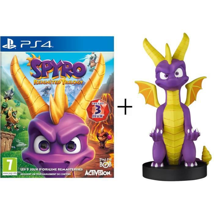 Pack Spyro : Figurine support manette Cable Guy Spyro + Spyro Reignited Trilogy Jeu PS4