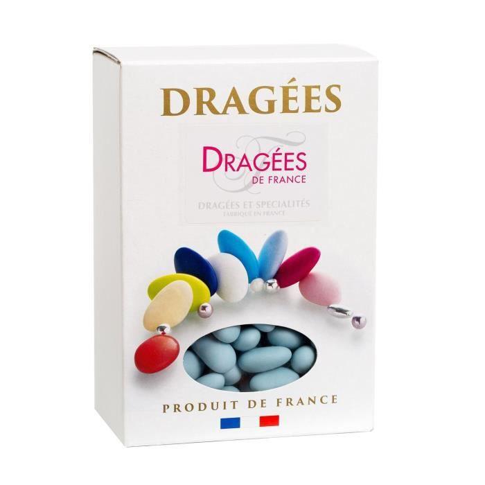 DRAGEES DE FRANCE Dragées Amande Marguerite 20% - Couleurs : bleue - Boîte 1 kg