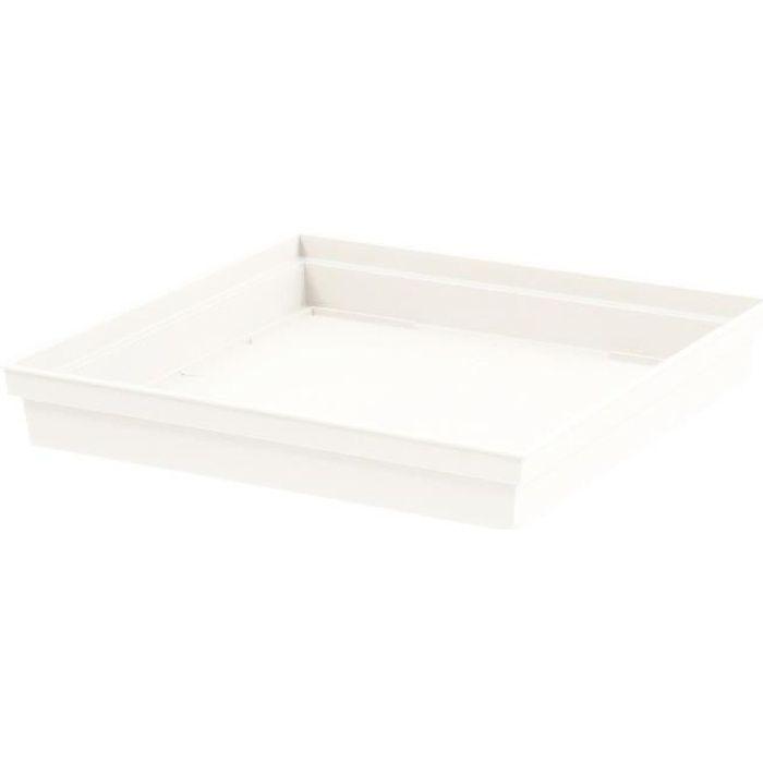 EDA Soucoupe carrée Toscane - 32,6 x 32,6 x H 4,9 cm - Blanc