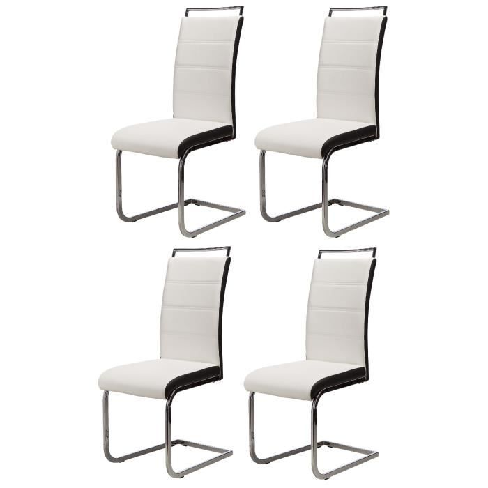 DYLAN Lot de 4 chaises salon blanc noir