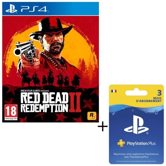 Pack Red Dead Redemption 2 Jeu PS4 + Abonnement PlayStation Plus 3 Mois