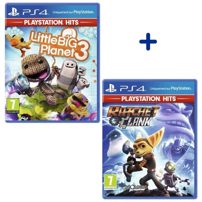 Pack 2 Jeux PS4 PlayStation Hits : Ratchet & Clank + Little Big Planet 3