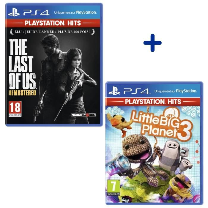 Pack 2 Jeux PS4 PlayStation Hits : The Last Of Us Remastered + Little Big Planet 3