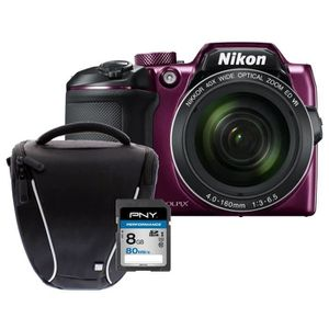 NIKON COOLPIX B500 - Appareil photo numérique Bridge - Bluetooth - Violet  + Carte 8Go + Sacoche