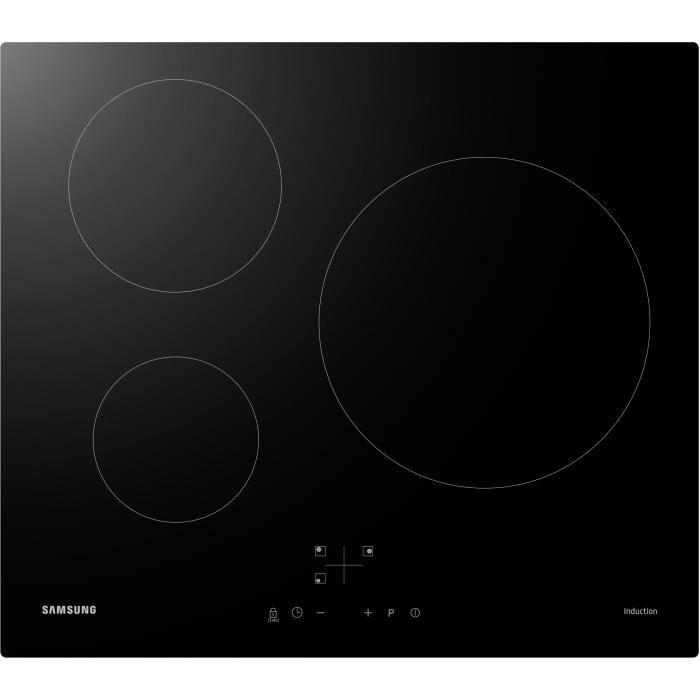 SAMSUNG NZ63M3NM1BB/UR Plaque de cuisson induction - 3 zones - 7200 W - L59 x P57 cm - Revêtement verre - Noir