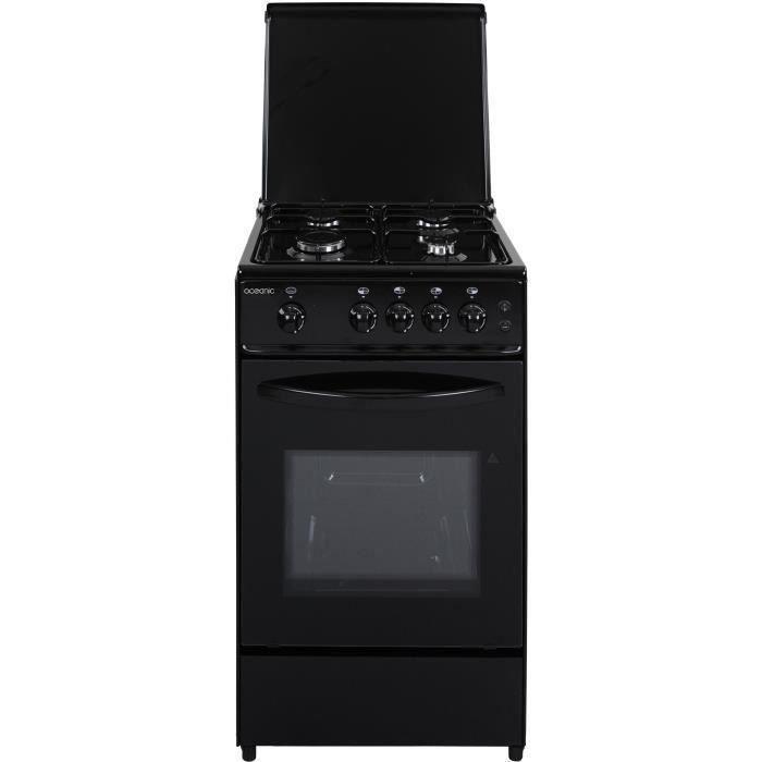 OCEANIC 105BV2 - Cuisinière gaz - Noir - 50x50 - Eclairage - Grill électrique