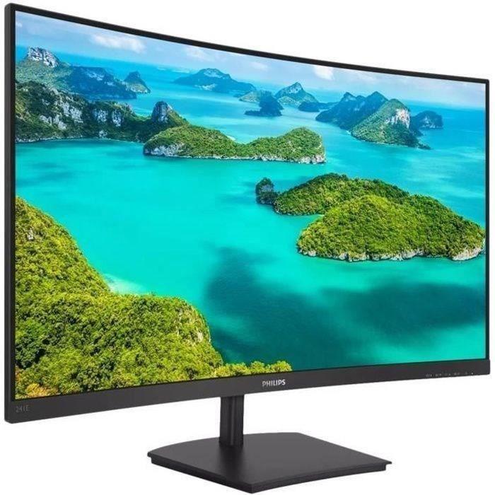 Ecran PC incurvé - PHILIPS 241E1SC/00 - 23,6- FHD - Dalle VA - 4 ms - 75Hz - VGA / HDMI - AMD FreeSync