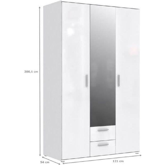 SELKEÄ Armoire de chambre - style contemporain blanc laqué brillant - L 121 cm