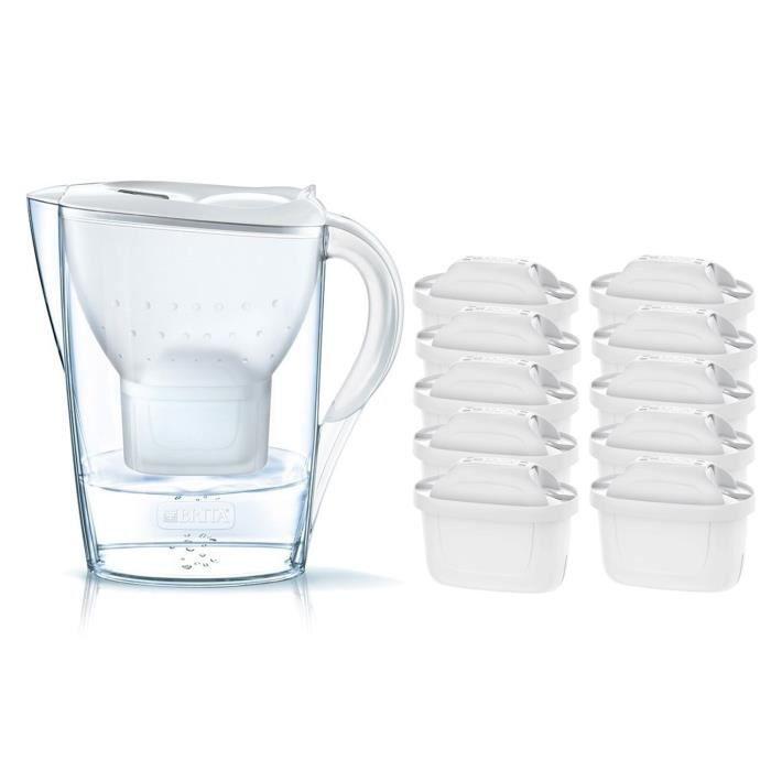 Pack BRITA Carafe filtrante MARELLA Blanc + 10 Cartouches de rechange