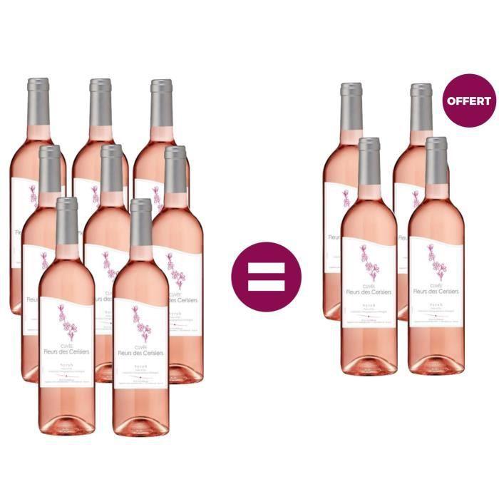 8 achetées - 4 offertes Fleurs des Cerisiers Pays d'OC Syrah - Vin rosé