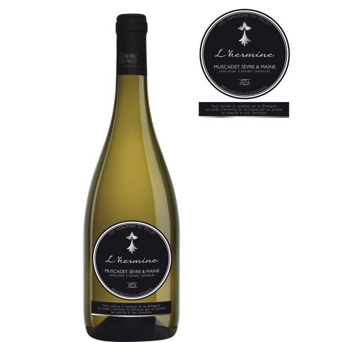 Les Vignerons du Pallet L'Hermine 2015 Muscadet Sèvre et Maine - Vin blanc de la Val de Loire