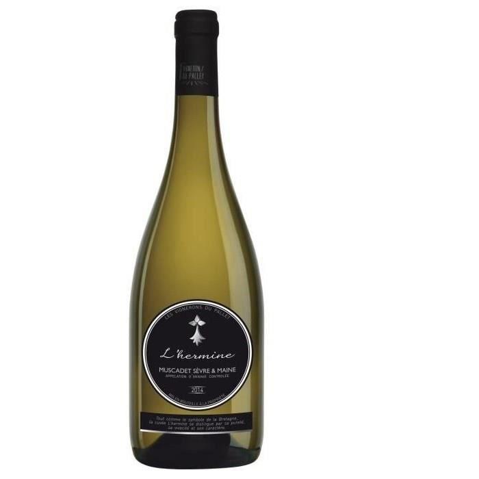 Les Vignerons du Pallet L'Hermine 2016 Muscadet Sèvre et Maine - Vin blanc de la Val de Loire