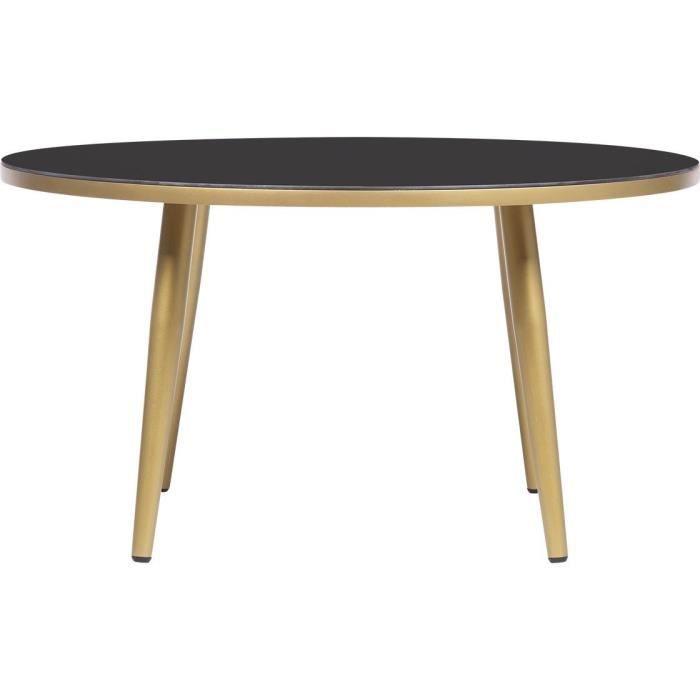 Table basse ronde - Noir et doré - L 80 x l 80 x H 43 cm - ELISE