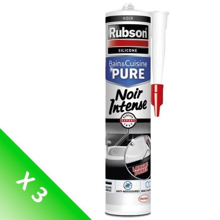[LOT DE 3] RUBSON Mastic noir intense - Bain et cuisine - 280 ml