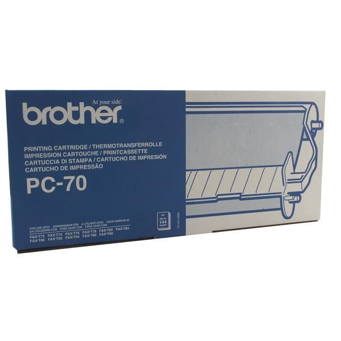 BROTHER Cassette ruban PC-70 - Noir - 144 pages