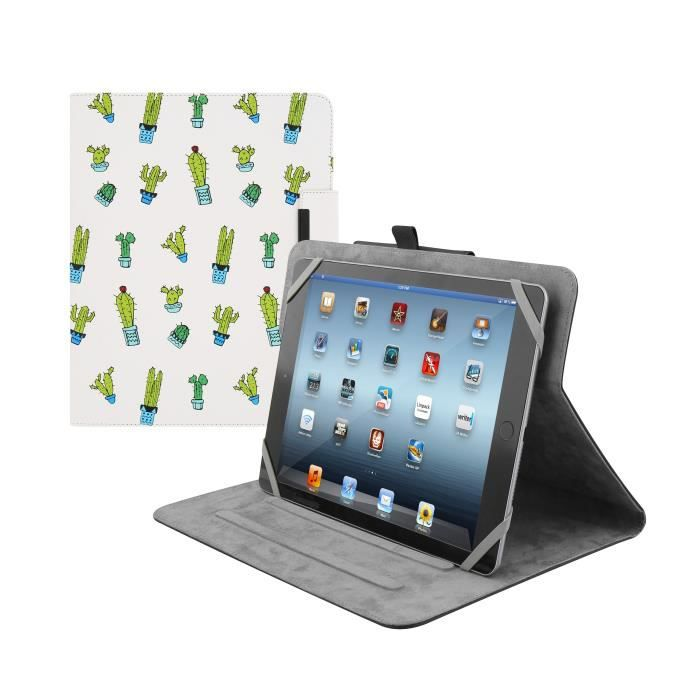TNB Etui Folio universel tablette 10 pouces - étui rotatif 360° - simili cuir - design cactus