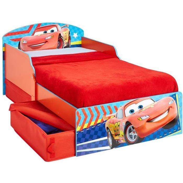 CARS Lit Enfant en bois 70*140 cm avec Tiroirs de Rangement - Worlds Apart