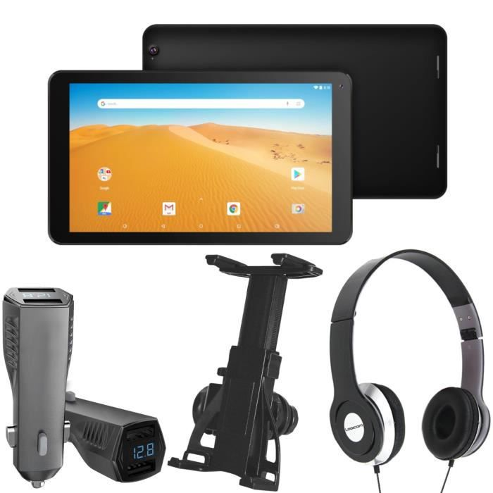 Pack Tablette Tactile + Support voiture + Chargeur + Casque